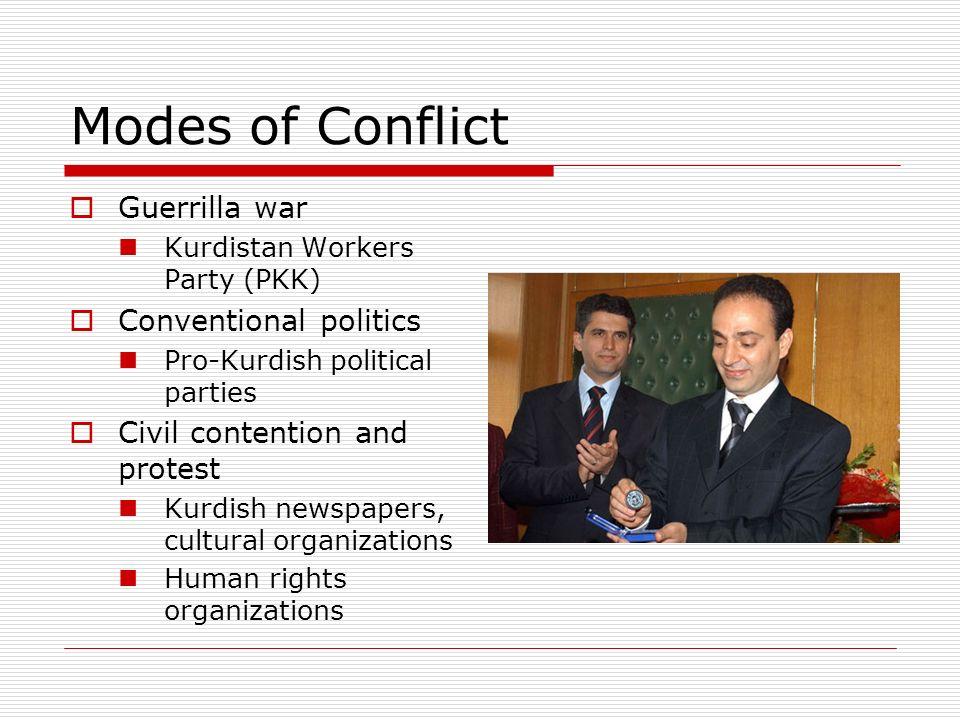 Modes of Conflict Guerrilla war Kurdistan Workers Party (PKK) Conventional politics Pro-Kurdish political parties Civil contention and protest Kurdish