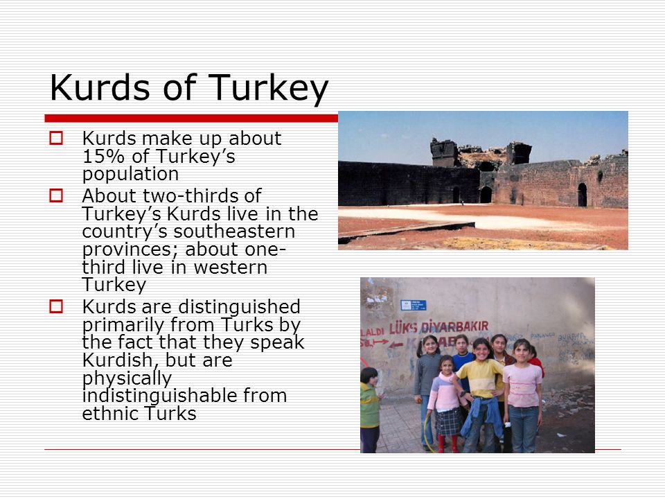 Kurds of Turkey Kurds make up about 15% of Turkeys population About two-thirds of Turkeys Kurds live in the countrys southeastern provinces; about one