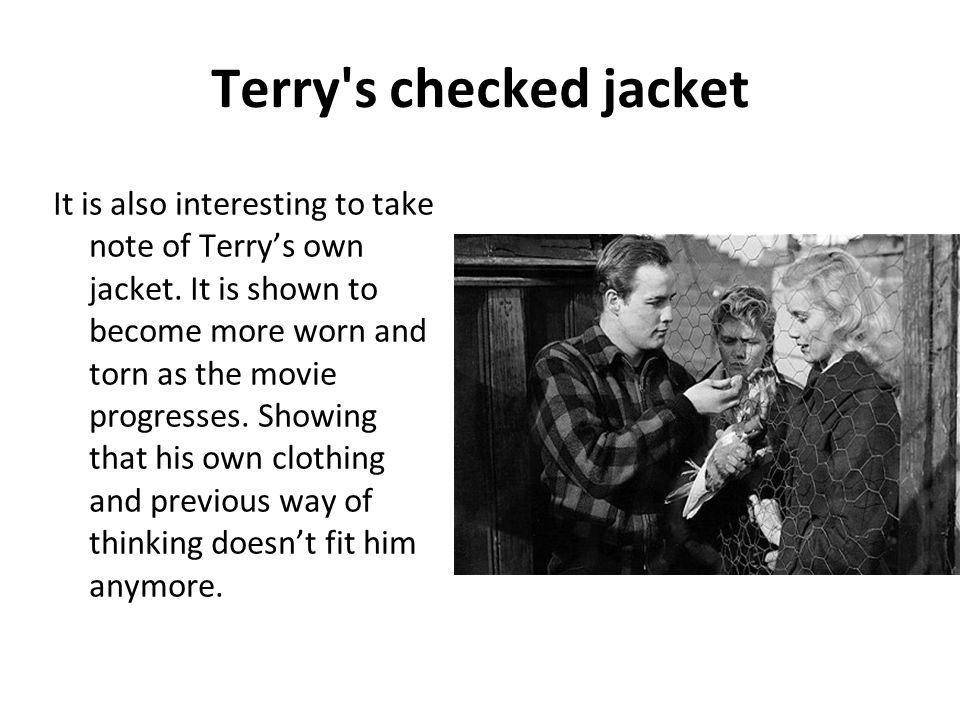 Terry's checked jacket It is also interesting to take note of Terrys own jacket. It is shown to become more worn and torn as the movie progresses. Sho