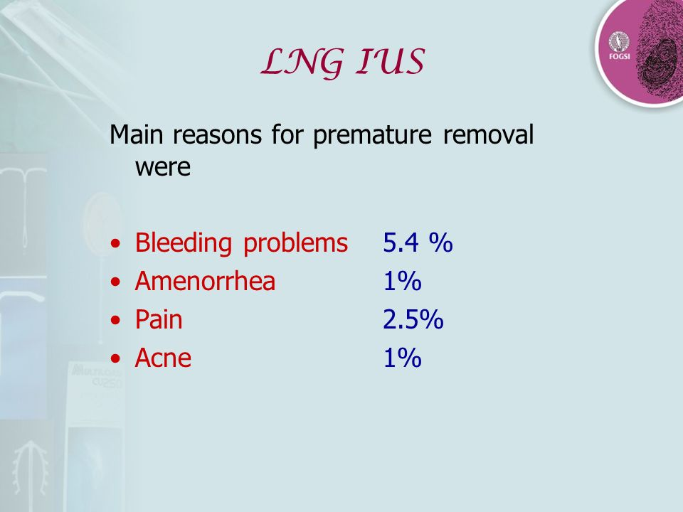 LNG IUS Main reasons for premature removal were Bleeding problems5.4 % Amenorrhea1% Pain2.5% Acne1%