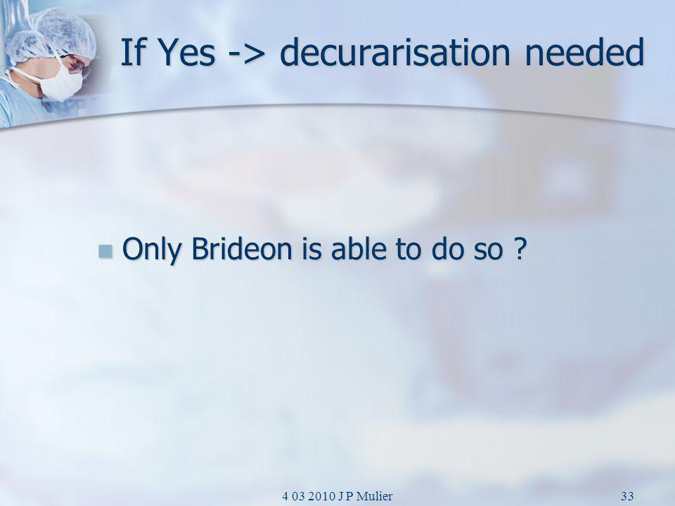 4 03 2010 J P Mulier33 If Yes -> decurarisation needed Only Brideon is able to do so ? Only Brideon is able to do so ?