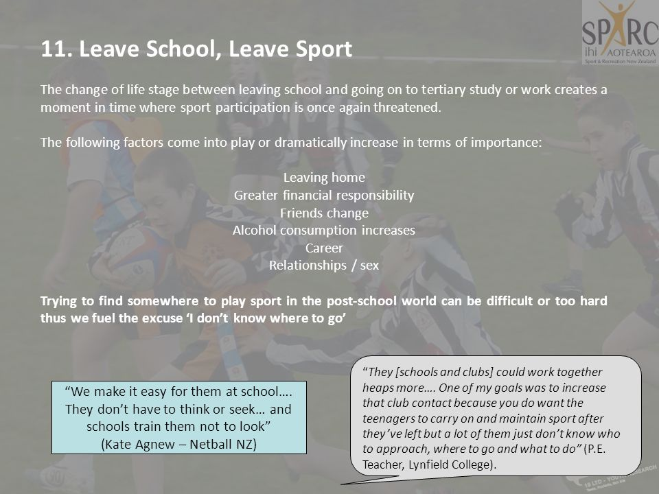 11. Leave School, Leave Sport The change of life stage between leaving school and going on to tertiary study or work creates a moment in time where sp