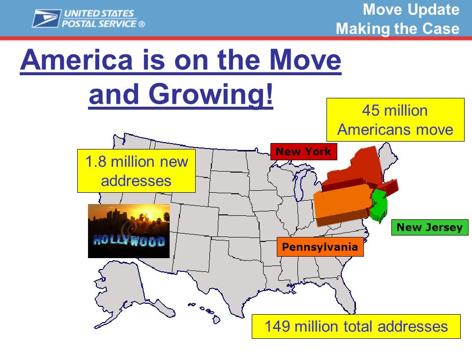 10 America is on the Move and Growing! Pennsylvania New Jersey New York 1.8 million new addresses 45 million Americans move 149 million total addresse