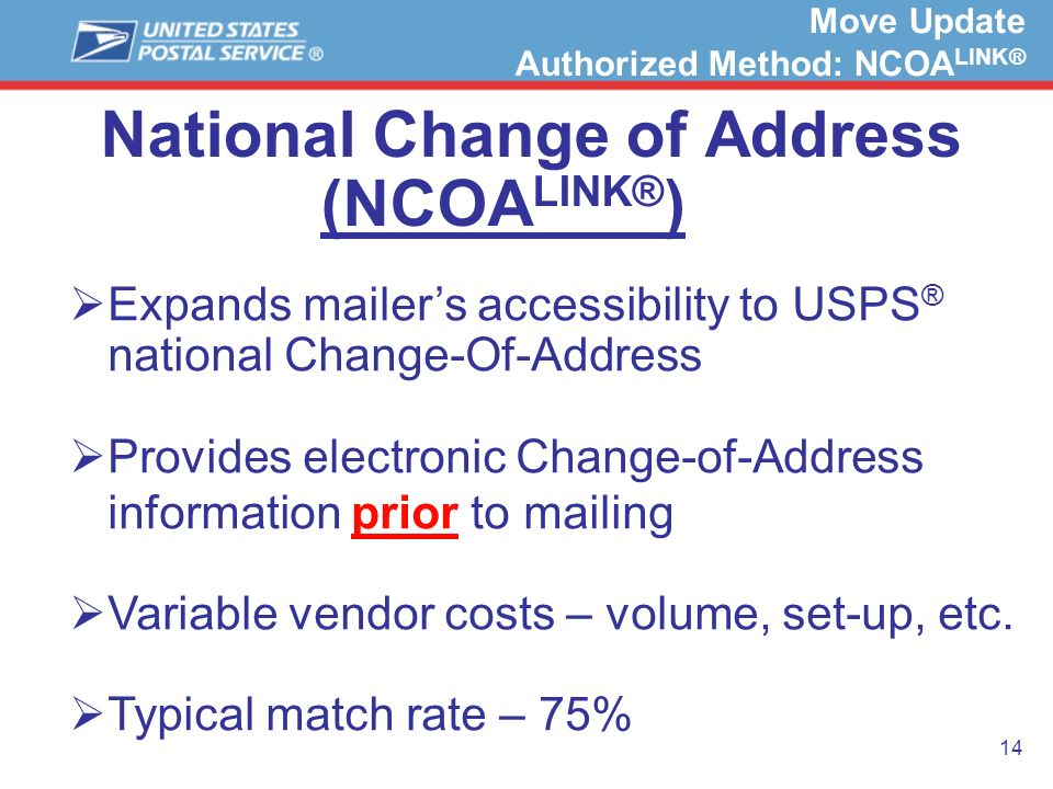 14 National Change of Address (NCOA LINK® ) Expands mailers accessibility to USPS ® national Change-Of-Address Provides electronic Change-of-Address i