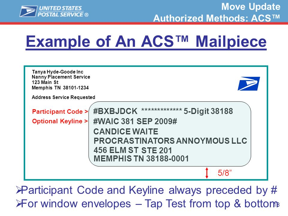 18 Example of An ACS Mailpiece Tanya Hyde-Goode Inc Nanny Placement Service 123 Main St Memphis TN 38101-1234 Address Service Requested DEW 456 ELM ST