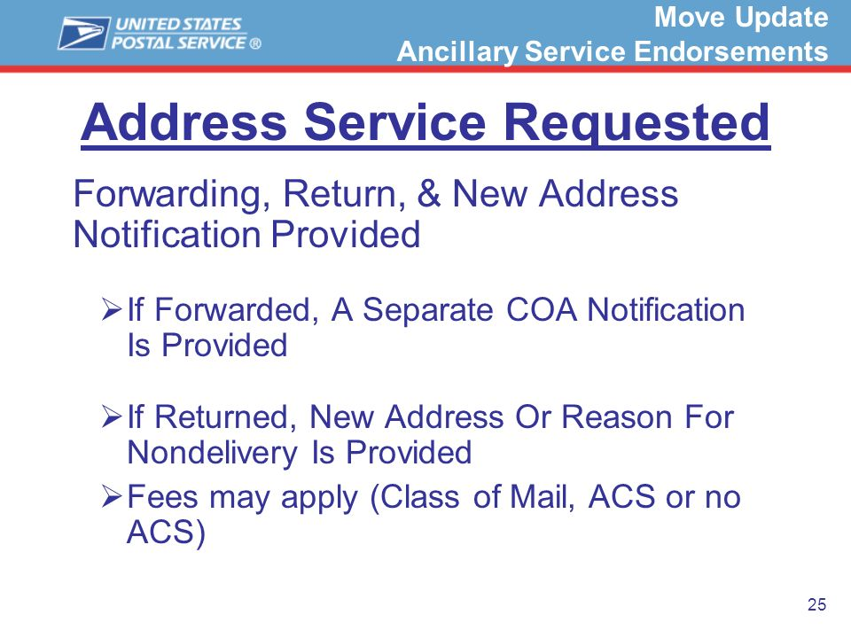25 Address Service Requested Forwarding, Return, & New Address Notification Provided If Forwarded, A Separate COA Notification Is Provided If Returned