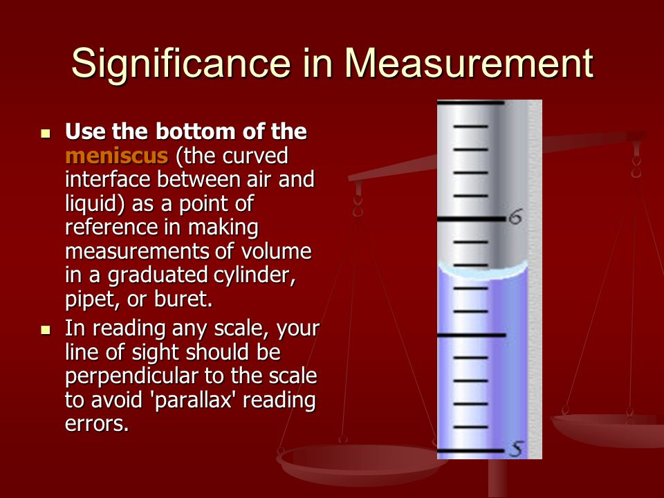 Significance in Measurement Use the bottom of the meniscus (the curved interface between air and liquid) as a point of reference in making measurements of volume in a graduated cylinder, pipet, or buret.