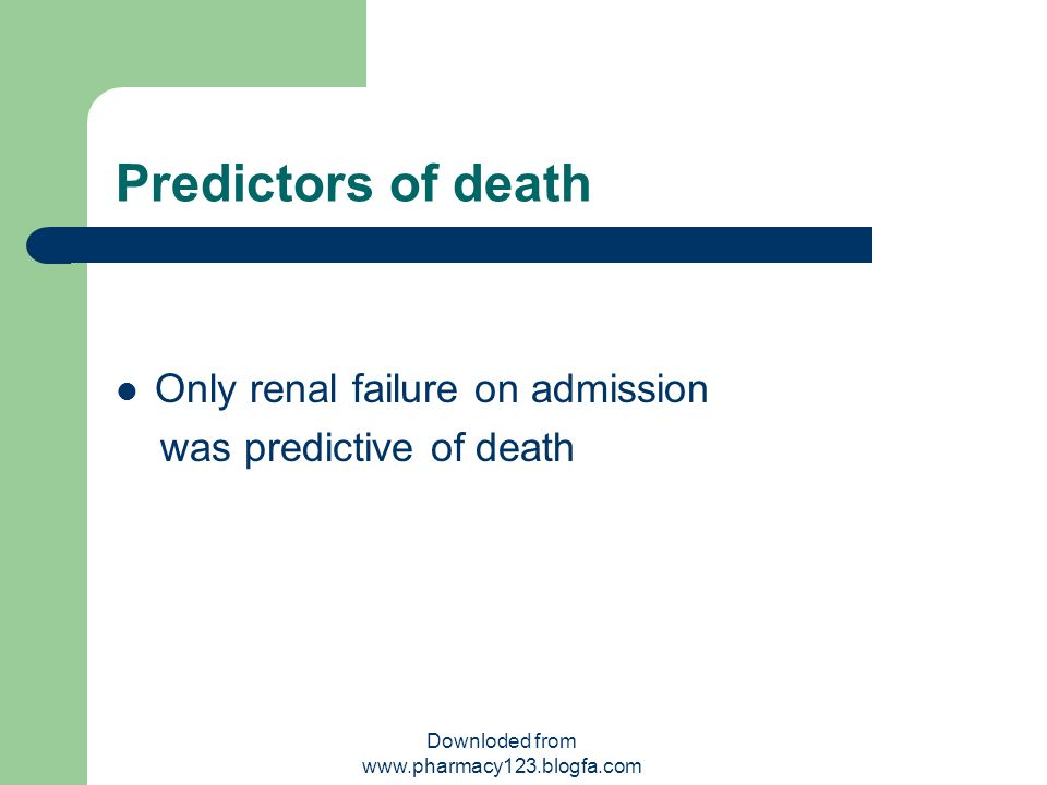 Predictors of death Only renal failure on admission was predictive of death Downloded from www.pharmacy123.blogfa.com
