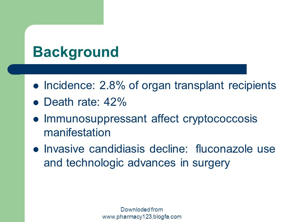 Background Incidence: 2.8% of organ transplant recipients Death rate: 42% Immunosuppressant affect cryptococcosis manifestation Invasive candidiasis d
