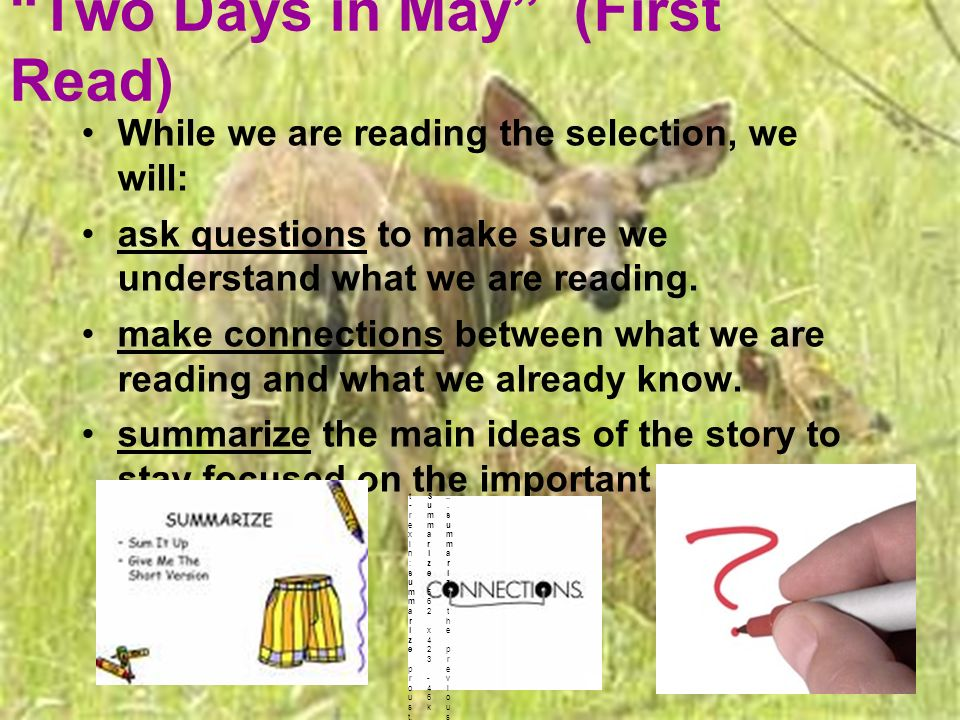 Two Days in May (First Read) While we are reading the selection, we will: ask questions to make sure we understand what we are reading. make connectio