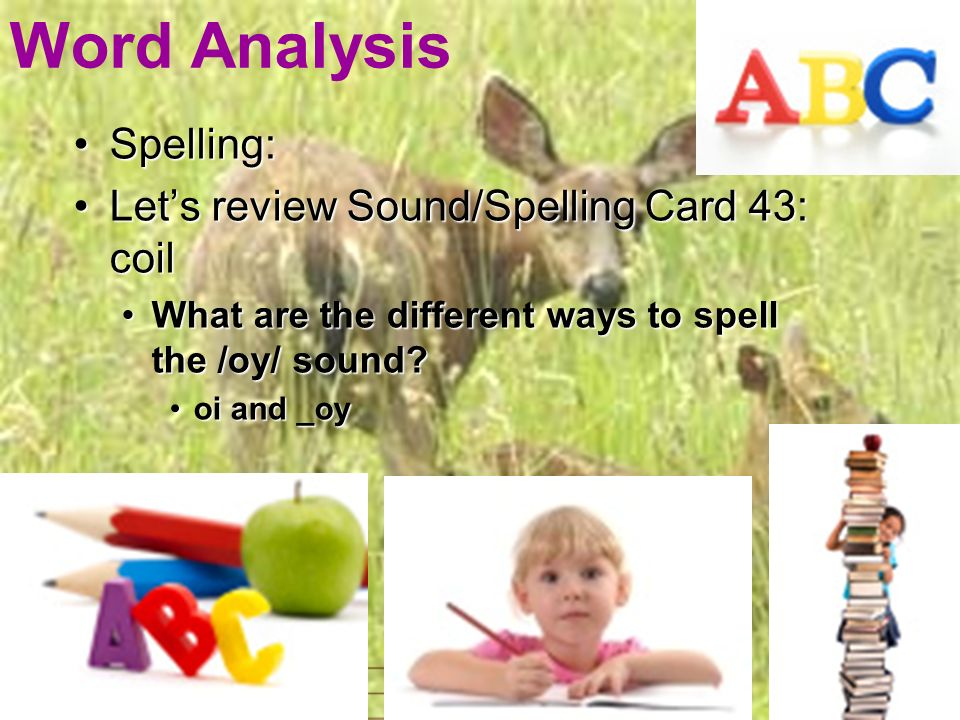 Word Analysis Spelling:Spelling: Lets review Sound/Spelling Card 43: coilLets review Sound/Spelling Card 43: coil What are the different ways to spell