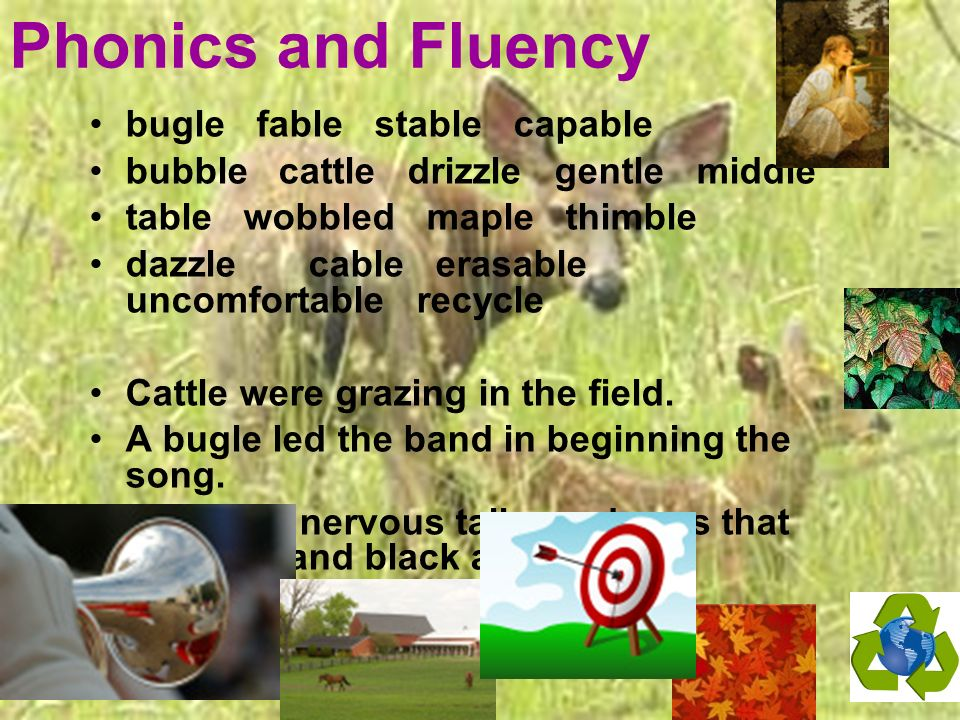 Phonics and Fluency bugle fable stable capable bubble cattle drizzle gentle middle table wobbled maple thimble dazzle cable erasable uncomfortable rec