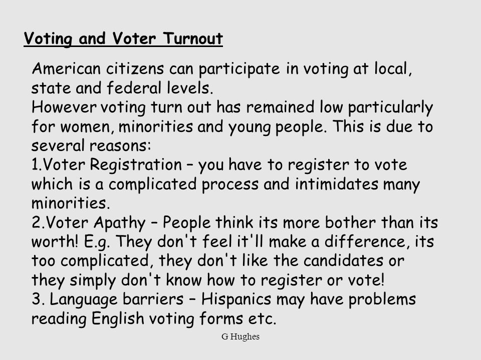 Voting and Voter Turnout American citizens can participate in voting at local, state and federal levels.