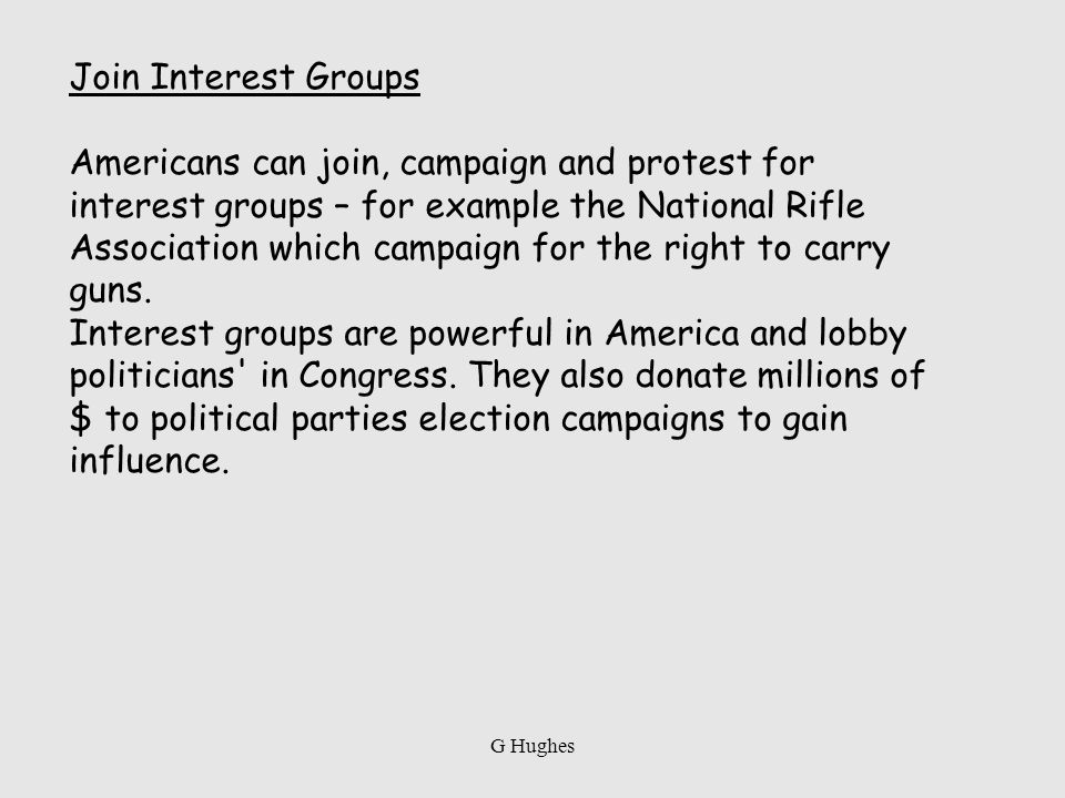 Join Interest Groups Americans can join, campaign and protest for interest groups – for example the National Rifle Association which campaign for the