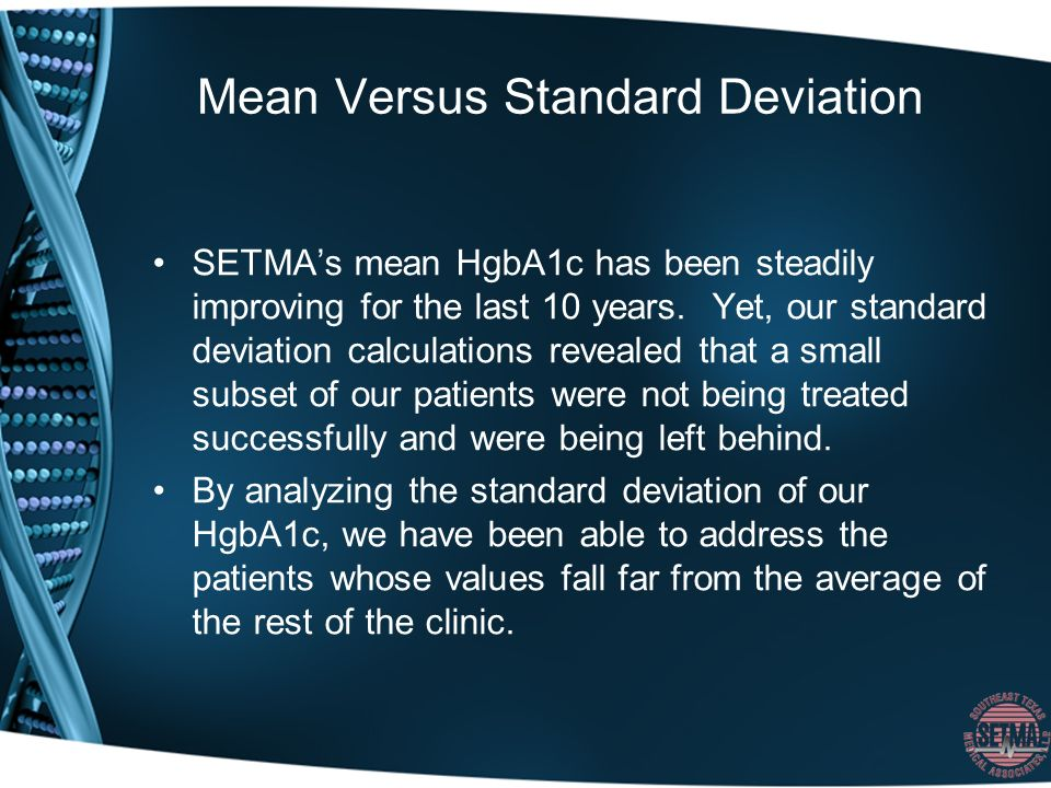 Mean Versus Standard Deviation SETMAs mean HgbA1c has been steadily improving for the last 10 years.