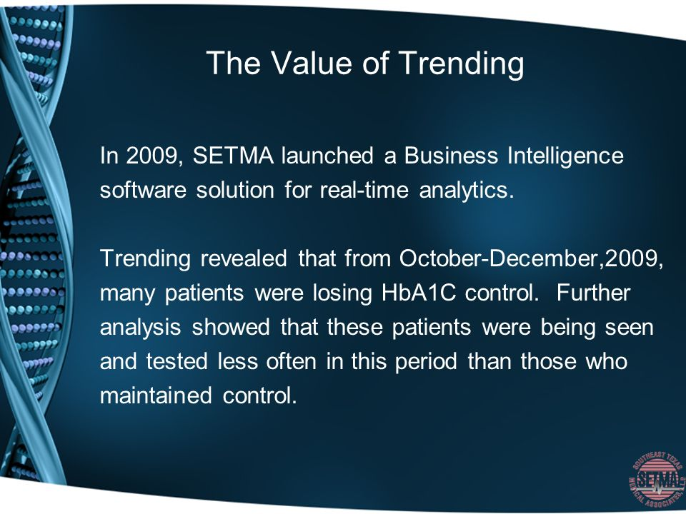 The Value of Trending In 2009, SETMA launched a Business Intelligence software solution for real-time analytics.