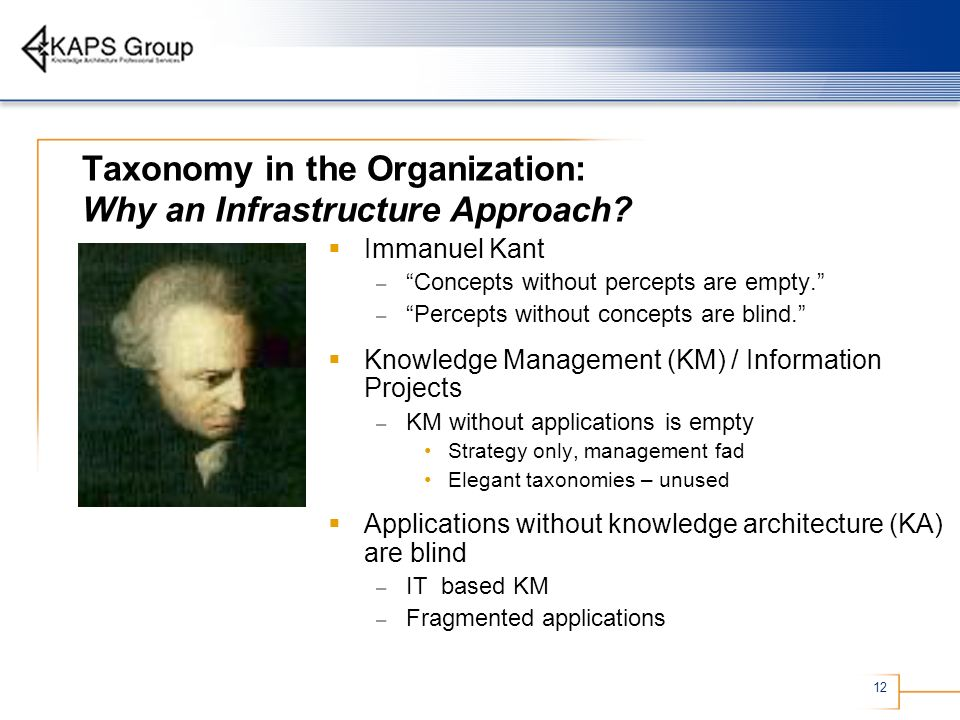 12 Taxonomy in the Organization: Why an Infrastructure Approach? Immanuel Kant – Concepts without percepts are empty. – Percepts without concepts are