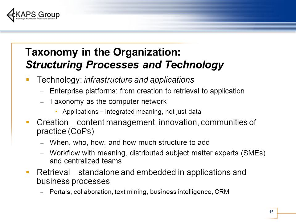 15 Taxonomy in the Organization: Structuring Processes and Technology Technology: infrastructure and applications – Enterprise platforms: from creatio