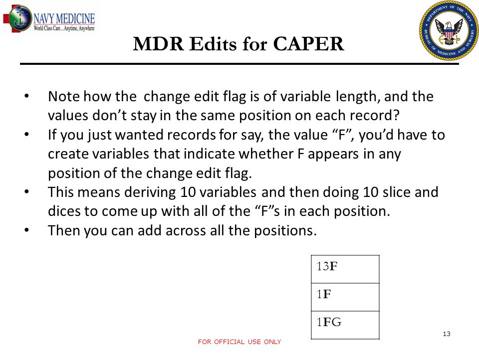 FOR OFFICIAL USE ONLY 13 MDR Edits for CAPER Note how the change edit flag is of variable length, and the values dont stay in the same position on eac