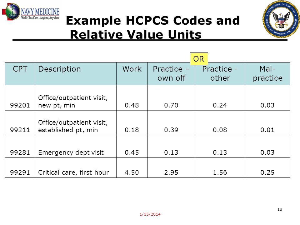 1/15/2014 18 CPTDescriptionWorkPractice – own off Practice - other Mal- practice 99201 Office/outpatient visit, new pt, min0.480.700.240.03 99211 Offi
