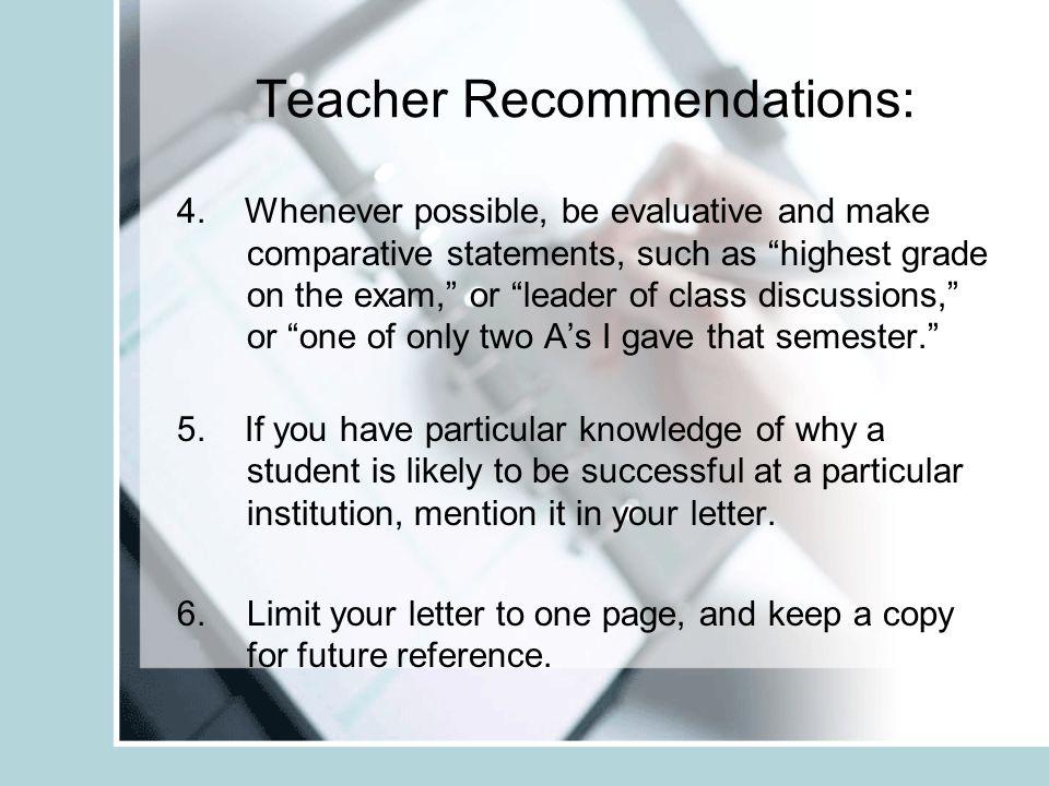 Teacher Recommendations: 4.