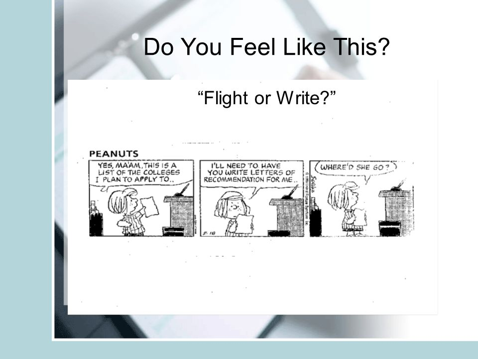 Do You Feel Like This Flight or Write