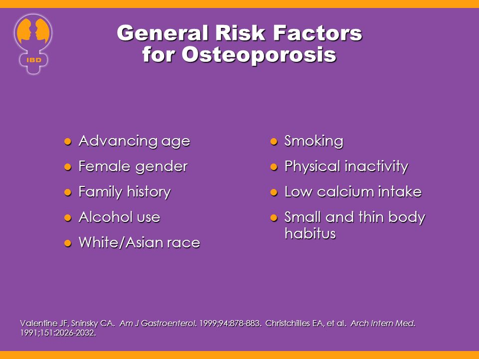 General Risk Factors for Osteoporosis Advancing age Advancing age Female gender Female gender Family history Family history Alcohol use Alcohol use White/Asian race White/Asian race Smoking Smoking Physical inactivity Physical inactivity Low calcium intake Low calcium intake Small and thin body habitus Small and thin body habitus Valentine JF, Sninsky CA.