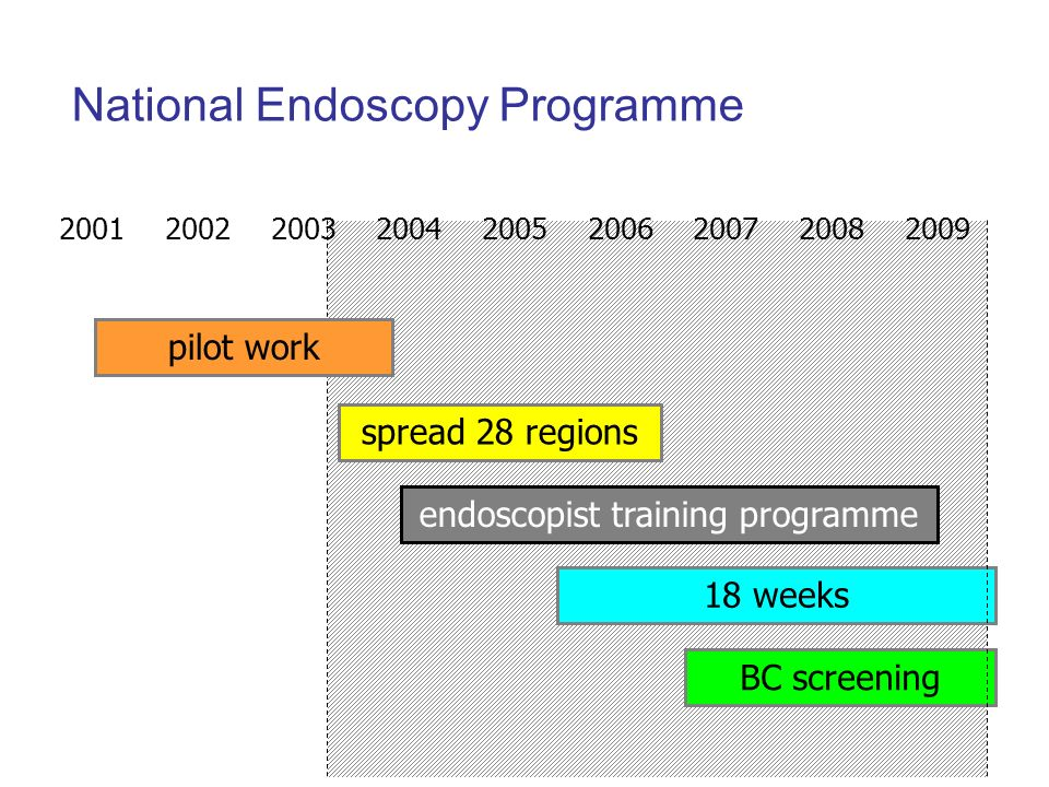 2001 2002 2003 2004 2005 2006 2007 2008 2009 spread 28 regions 18 weeks BC screening endoscopist training programme pilot work