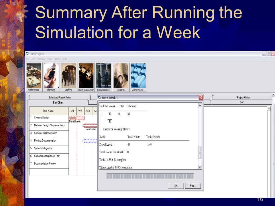 16 Summary After Running the Simulation for a Week