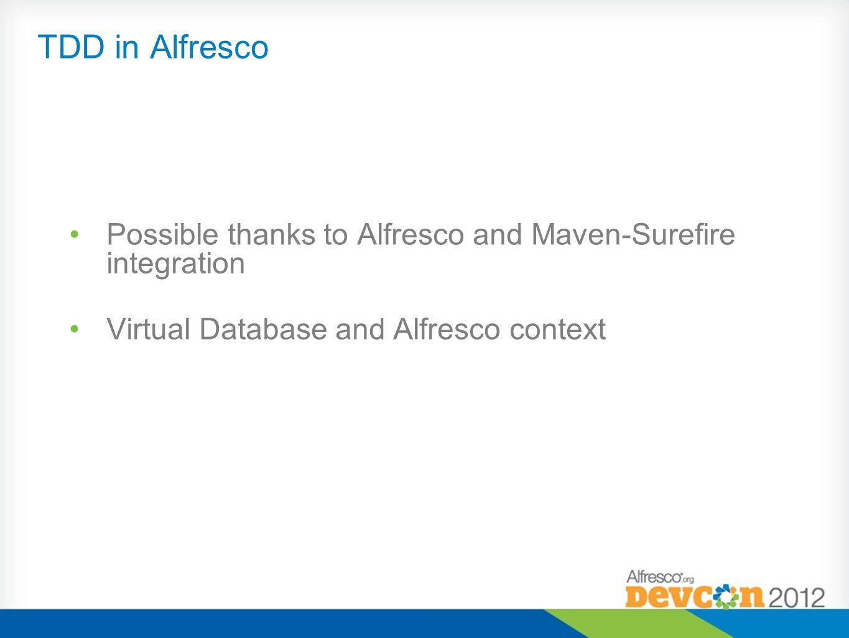 Possible thanks to Alfresco and Maven-Surefire integration Virtual Database and Alfresco context