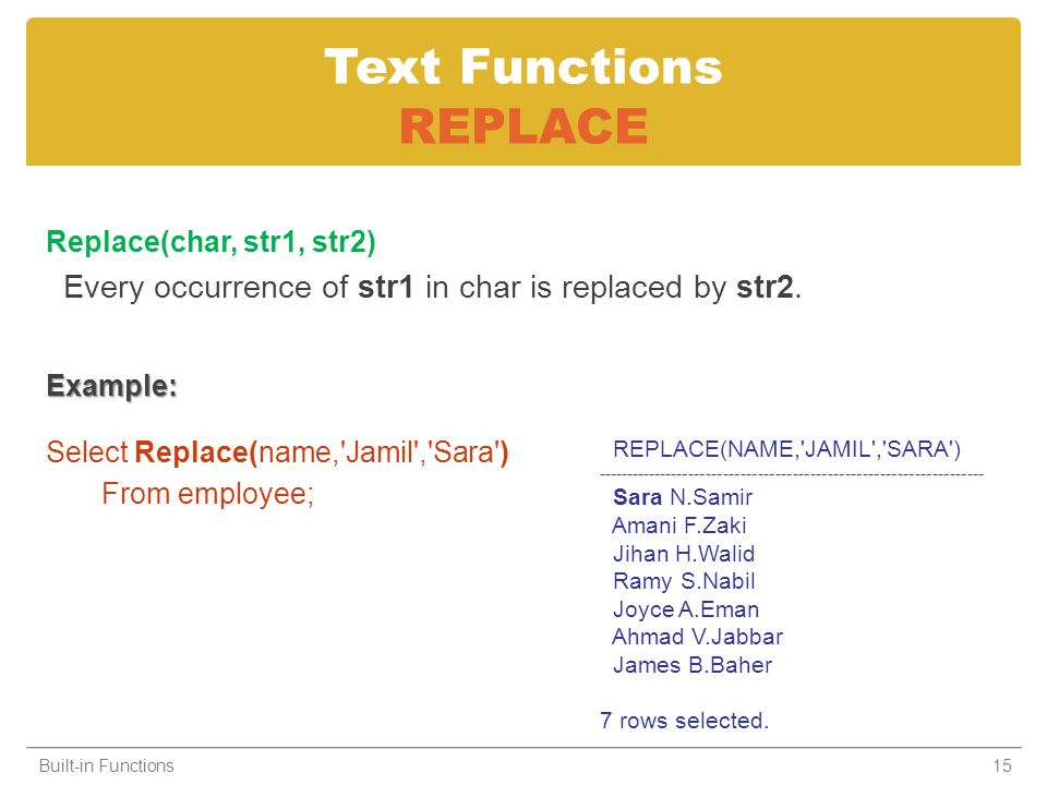 Text Functions REPLACE Replace(char, str1, str2) Every occurrence of str1 in char is replaced by str2.Example: Select Replace(name,'Jamil','Sara') Fro