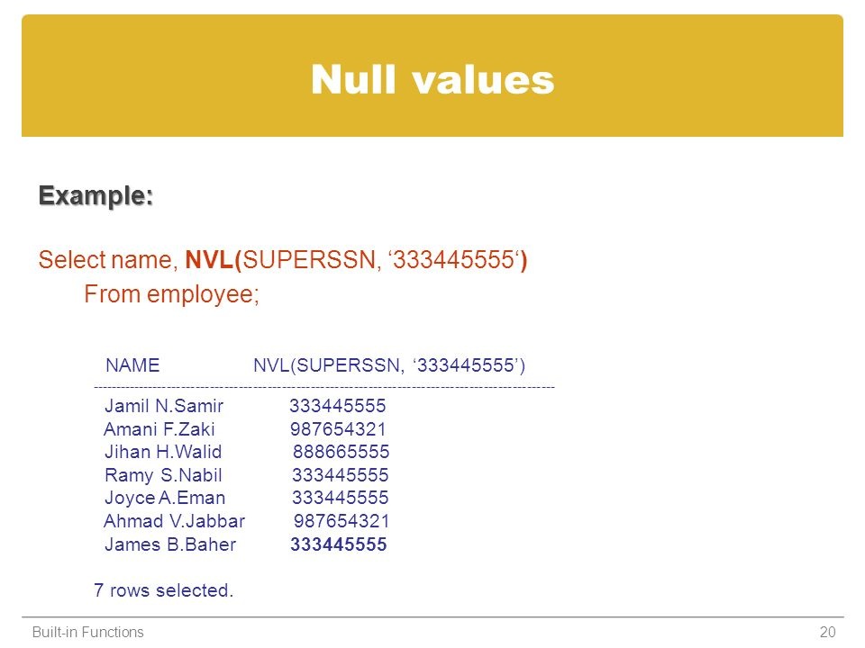 Null values Example: Select name, NVL(SUPERSSN, 333445555) From employee; Built-in Functions20 NAME NVL(SUPERSSN, 333445555) -------------------------