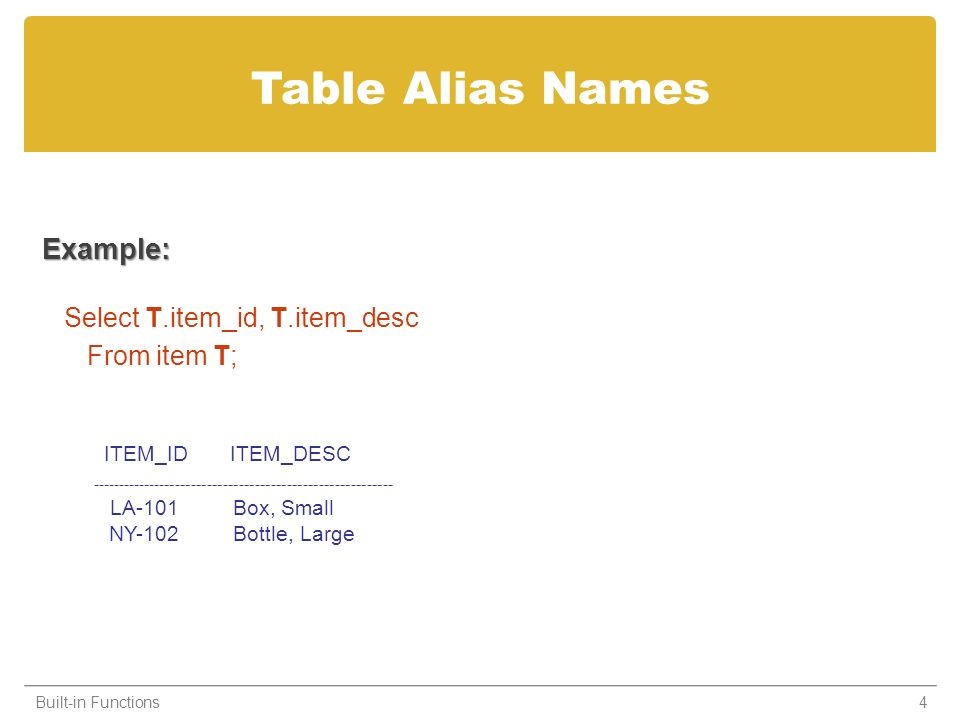 Table Alias Names Example: Select T.item_id, T.item_desc From item T; Built-in Functions4 ITEM_ID ITEM_DESC --------------------------------------------------------- LA-101 Box, Small NY-102 Bottle, Large