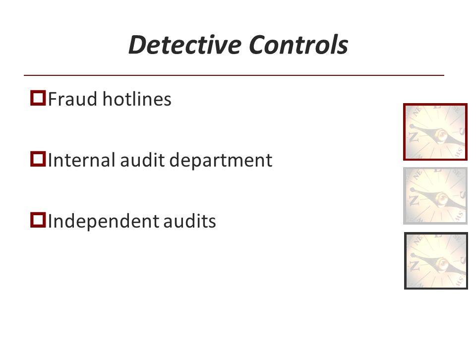 Detective Controls Fraud hotlines Internal audit department Independent audits