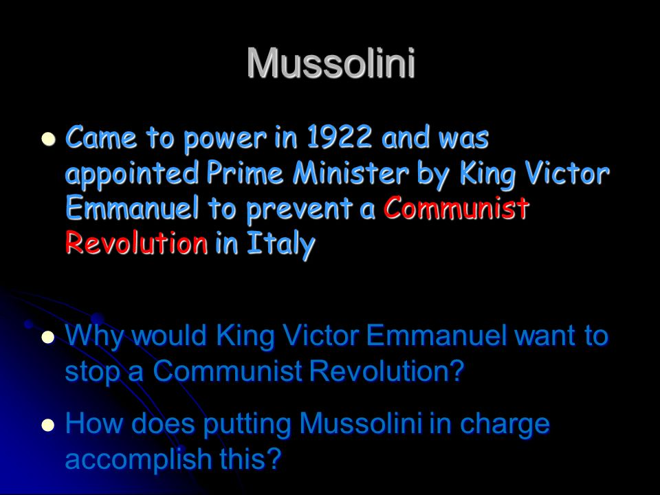 Mussolini gains power Mussolini set up a Fascist Party and promised to solve Italys problems Mussolini set up a Fascist Party and promised to solve It