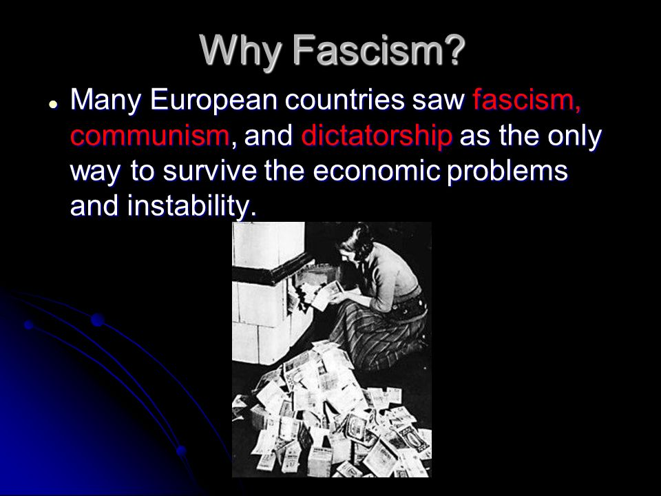 What is Fascism? A political movement that promotes an extreme form of nationalism, a denial of individual rights, and dictatorial one party rule. A p
