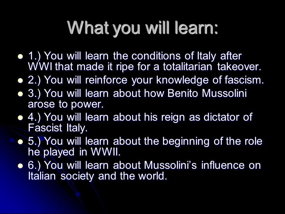 The Rise of Mussolini in Italy Benito Mussolini (1883-1945)