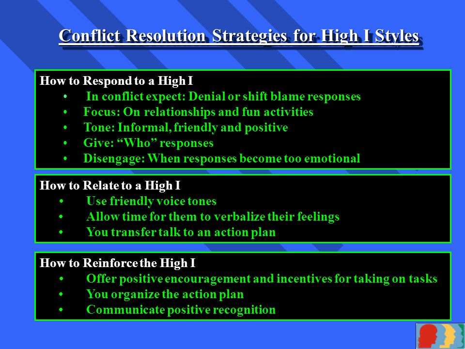 In His Grace, Inc. Conflict Resolution Strategies for High D Styles How to Respond to a High D In conflict expect: Disagreement and debate Focus: On a