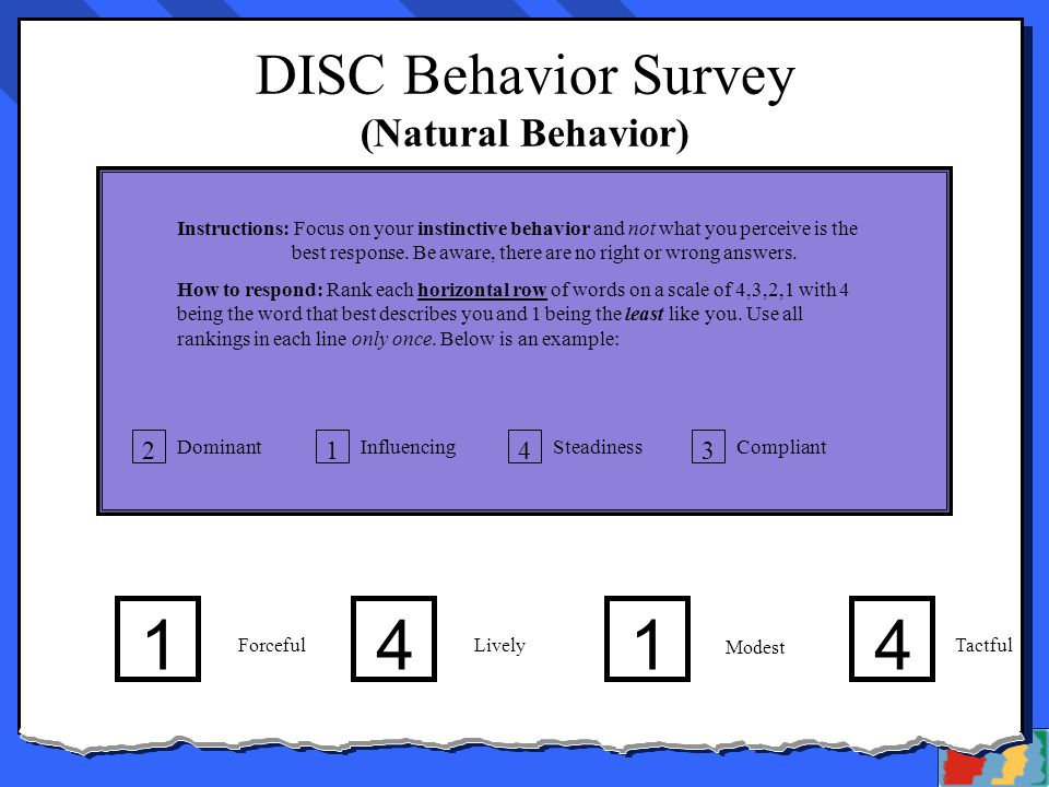 In His Grace, Inc. DISC Behavior Survey – Page 2 (Natural Behavior) Instructions: Focus on your instinctive behavior and not what you perceive is the