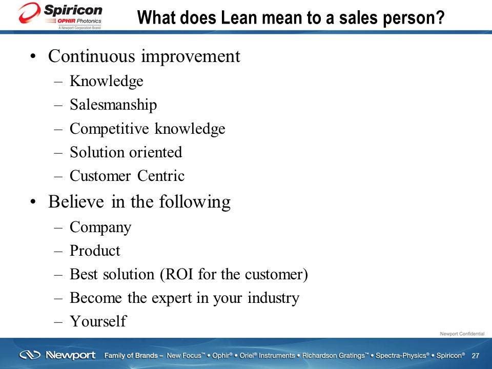 27 What does Lean mean to a sales person.