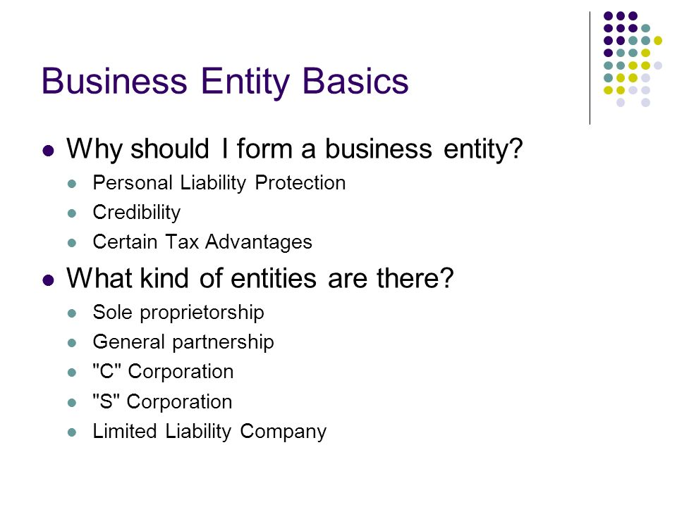 Business Entity Basics Why should I form a business entity.