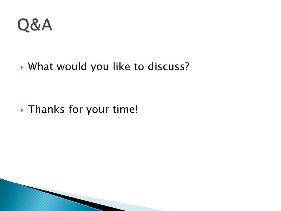 What would you like to discuss? Thanks for your time!