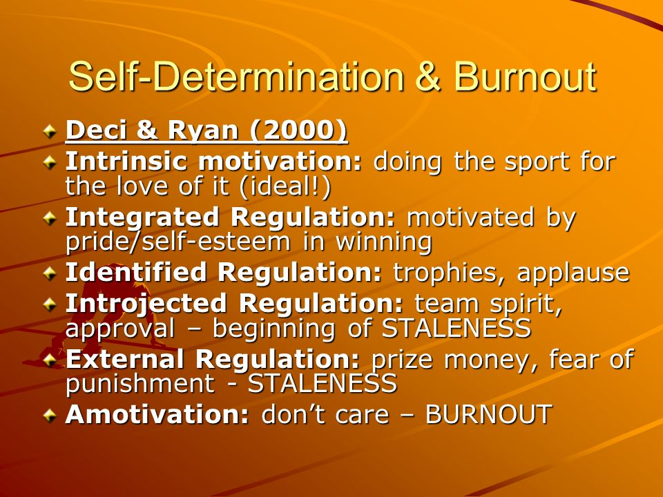 Self-Determination & Burnout Deci & Ryan (2000) Intrinsic motivation: doing the sport for the love of it (ideal!) Integrated Regulation: motivated by