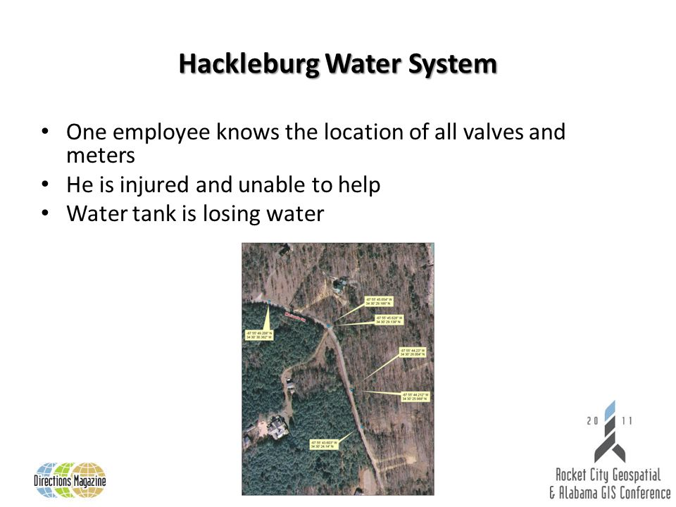 Hackleburg Water System One employee knows the location of all valves and meters He is injured and unable to help Water tank is losing water