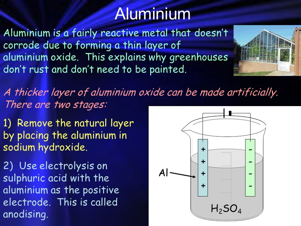 Aluminium Aluminium is a fairly reactive metal that doesnt corrode due to forming a thin layer of aluminium oxide. This explains why greenhouses dont