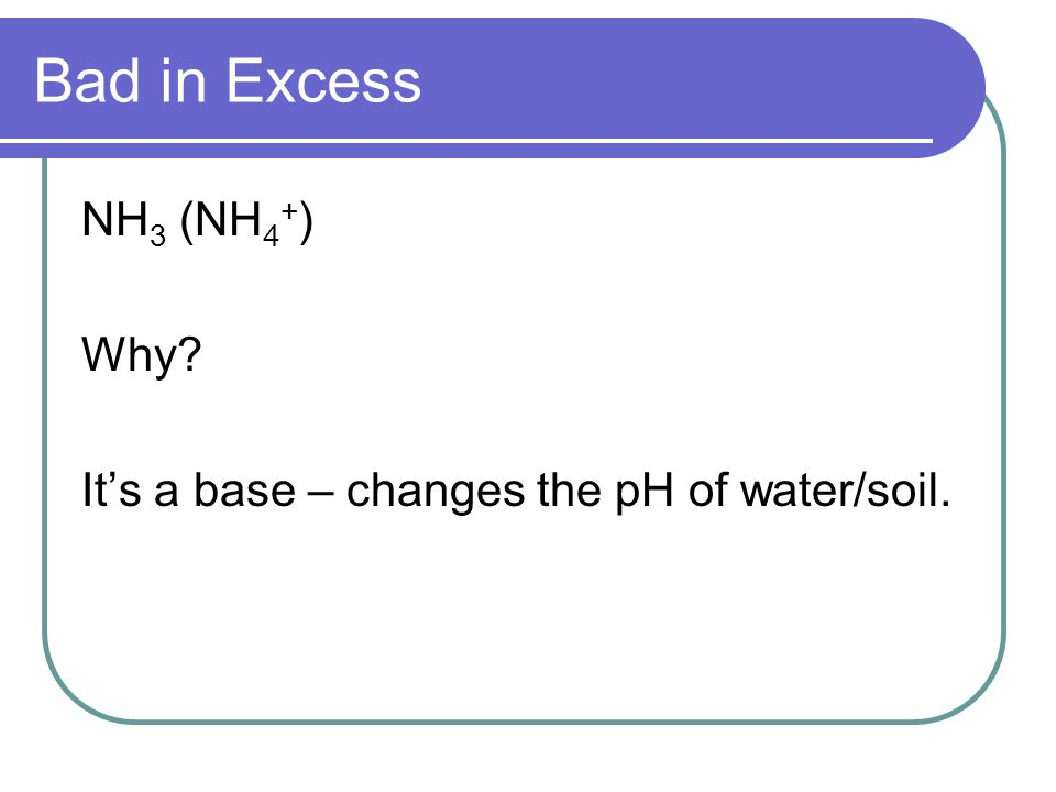 Bad in Excess NH 3 (NH 4 + ) Why? Its a base – changes the pH of water/soil.