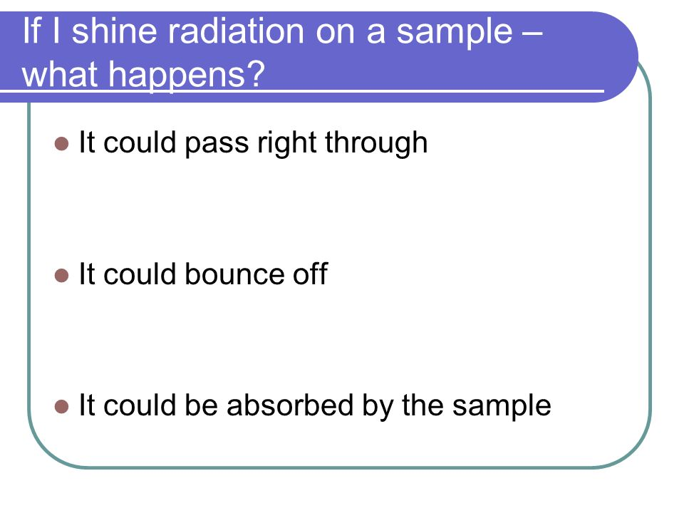 If I shine radiation on a sample – what happens? It could pass right through It could bounce off It could be absorbed by the sample