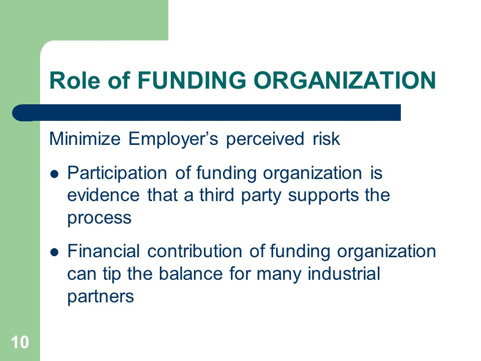10 Role of FUNDING ORGANIZATION Minimize Employers perceived risk Participation of funding organization is evidence that a third party supports the pr