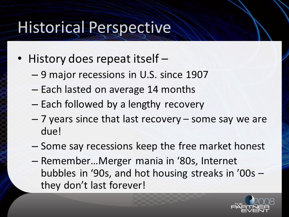 Historical Perspective History does repeat itself – – 9 major recessions in U.S.