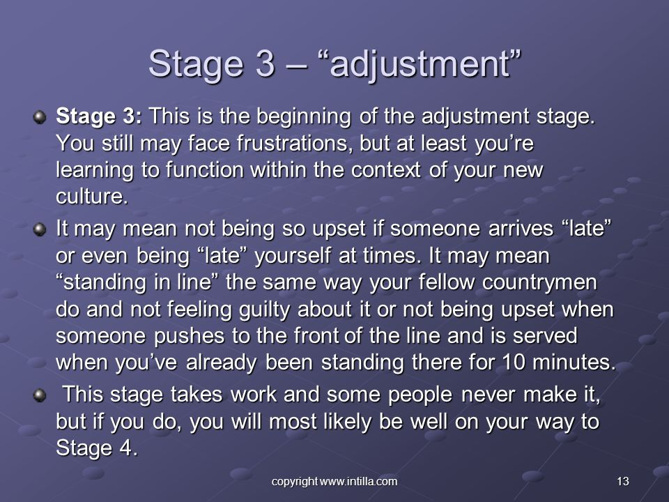 13copyright www.intilla.com Stage 3 – adjustment Stage 3: This is the beginning of the adjustment stage. You still may face frustrations, but at least